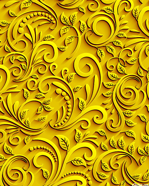 Abstract Cutouts - Paisley Filigree - Sun Yellow - DIGITAL PRINT