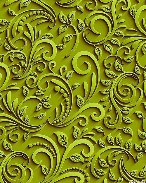 Abstract Cutouts - Paisley Filigree - Olive - DIGITAL PRINT