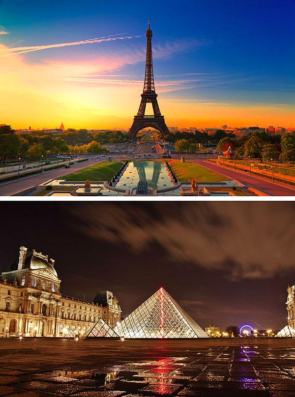 "Paris Icons - Eiffel & Louvre - 32"" x 44"" PANEL - DIGITAL PRINT"