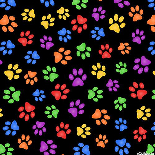 Paw Prints Forever - Black/Multi - DIGITAL PRINT