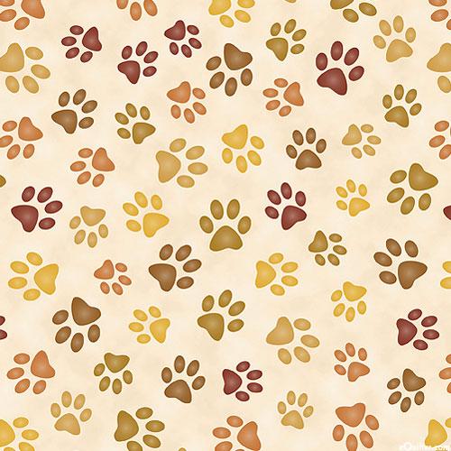 Paw Prints Forever - Cream/Natural - DIGITAL PRINT