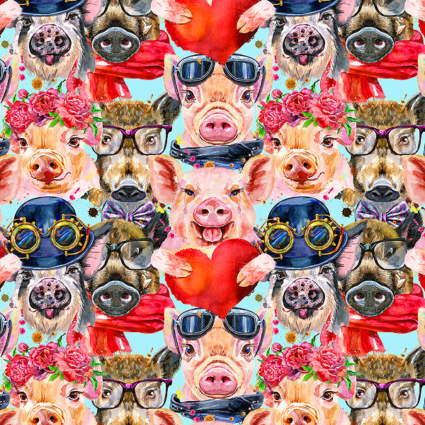 Fancy Pigs - Sky Blue - DIGITAL PRINT