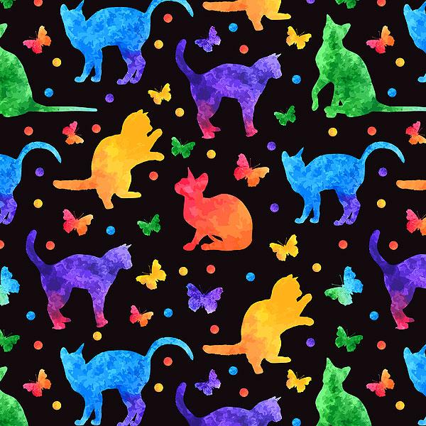 Rainbow Watercolor Cats - Black - DIGITAL PRINT