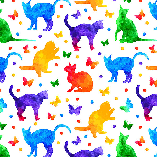 Rainbow Watercolor Cats and Butterflies - White - DIGITAL PRINT