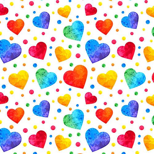 Rainbow Watercolor Hearts - White - DIGITAL PRINT