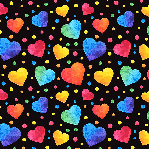 Rainbow Watercolor Hearts - Black - DIGITAL PRINT