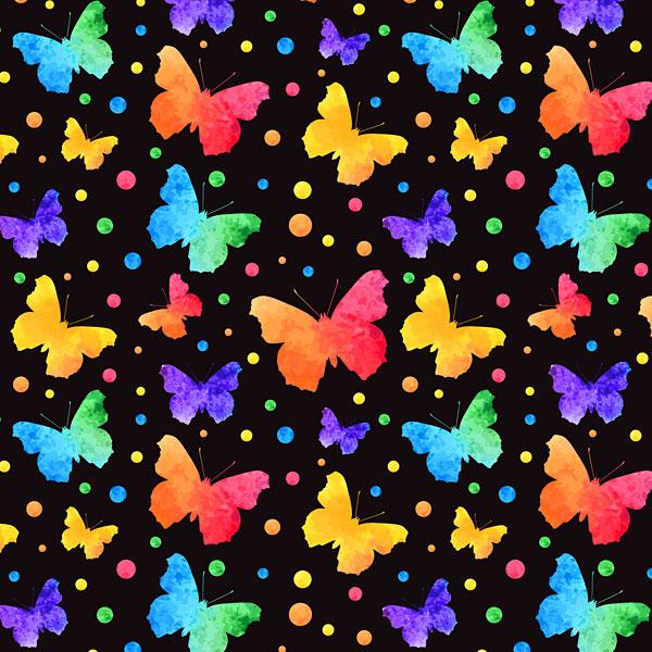 Rainbow Watercolor Butterflies - Black - DIGITAL PRINT