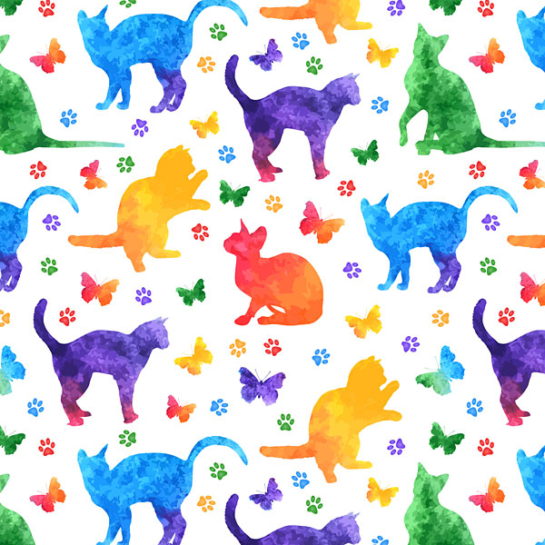 Rainbow Watercolor Cats and Paw Prints - White - DIGITAL PRINT