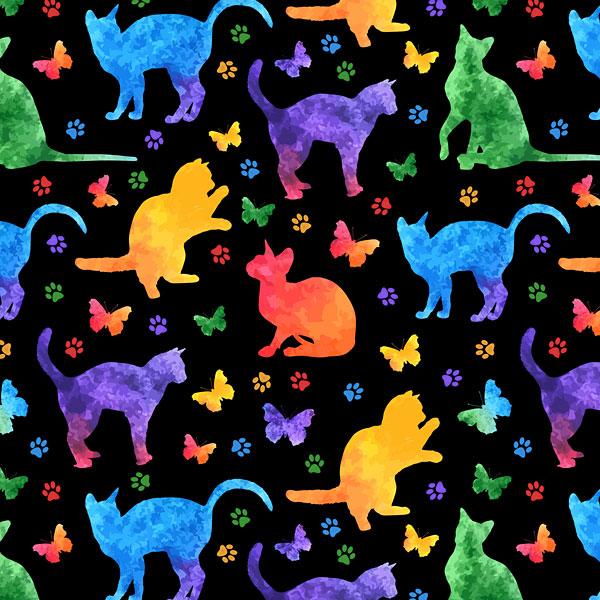 Rainbow Watercolor Cats and Paw Prints - Black - DIGITAL PRINT