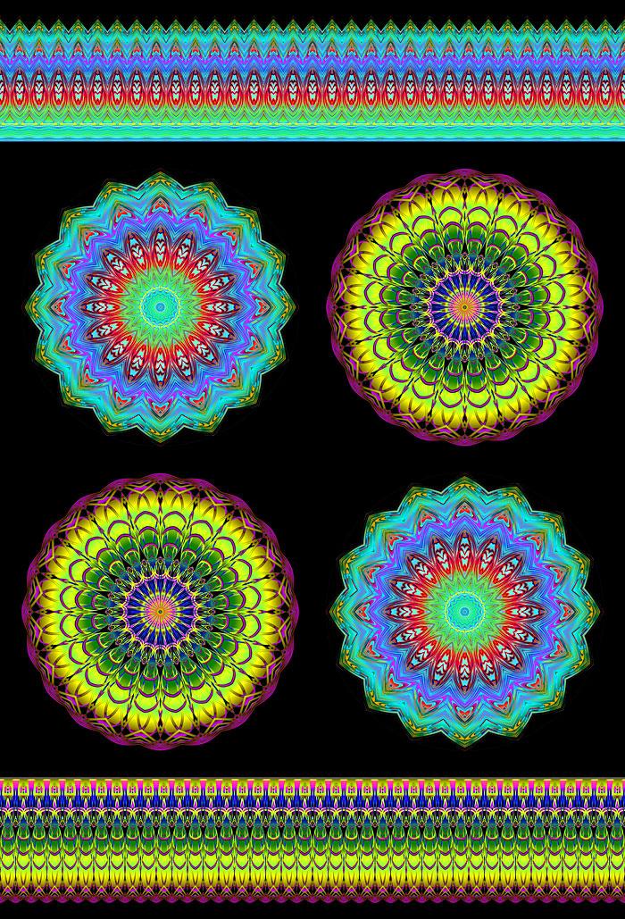 "Prismatic Mandalas - Temple - 29"" x 44"" PANEL - DIGITAL PRINT"