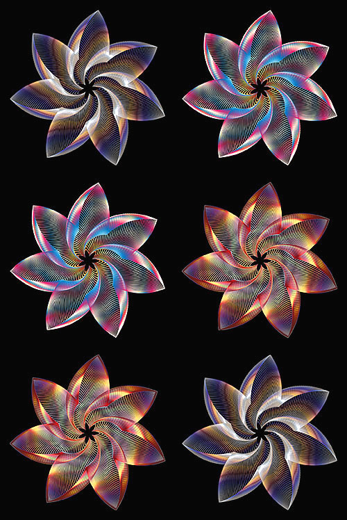 "Prismatic Flowers - Opal - 29"" x 44"" PANEL - DIGITAL PRINT"
