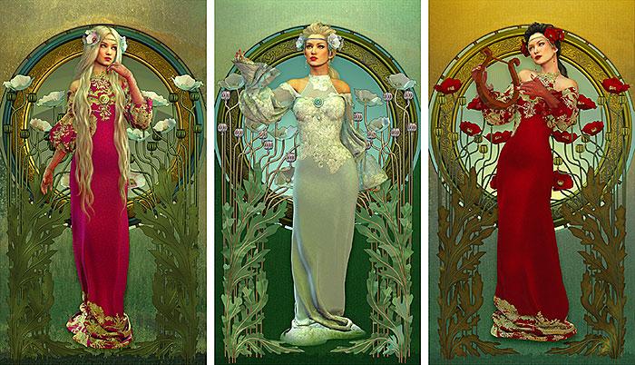 """Art Nouveau Muses - 25"""" x 44"""" PANEL - DESIGNER DIGITAL PRINT"""