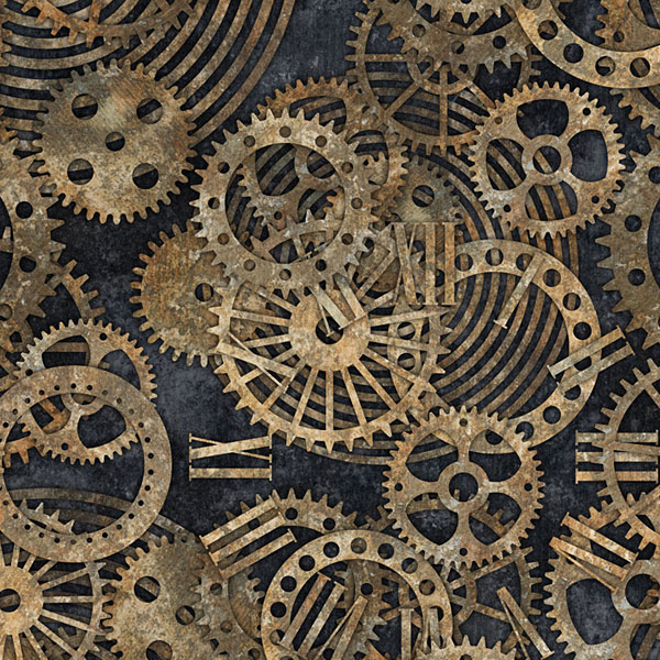 Steampunk Gears - Charcoal Gray - DIGITAL PRINT