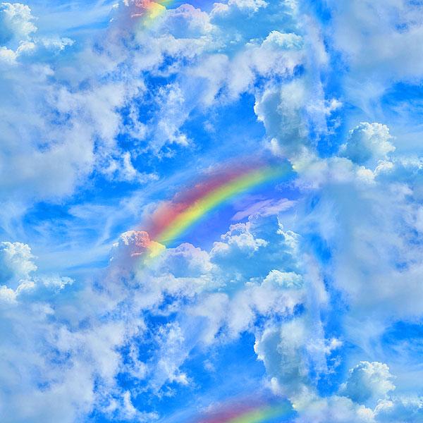 Rainbow Prism Skies - Bright Sky Blue - DIGITAL PRINT