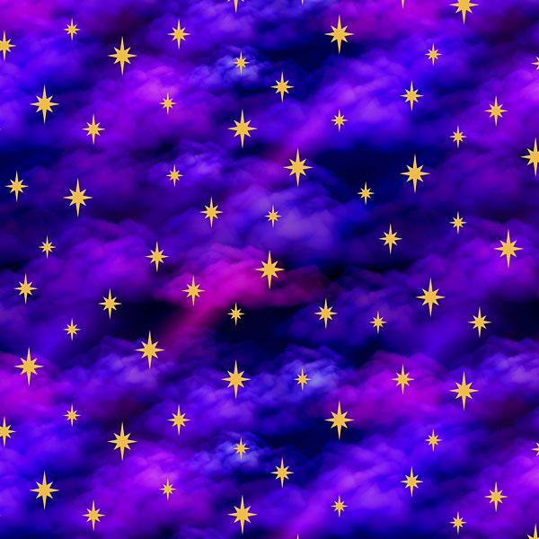 Stars on Clouds - Violet Purple - DIGITAL PRINT