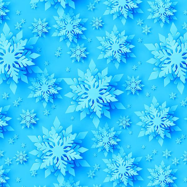 Paper Cutout Snowflakes - Aqua - DIGITAL PRINT