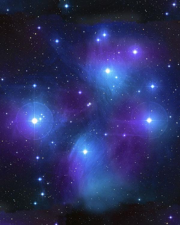 Space - Pleiades Star Cluster - Black - DIGITAL PRINT