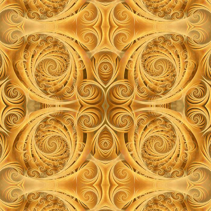 Wispy Fractal Spirals - Cognac - DIGITAL PRINT