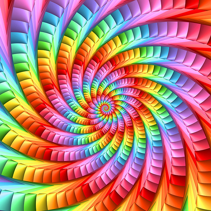 "Swirled - Psychedelic Rainbow Spiral - 43"" x 44"" PANEL - DIGITAL"