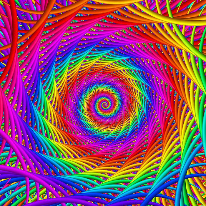 "Swirled - Spiral Rainbow - 43"" x 44"" PANEL - DIGITAL PRINT"