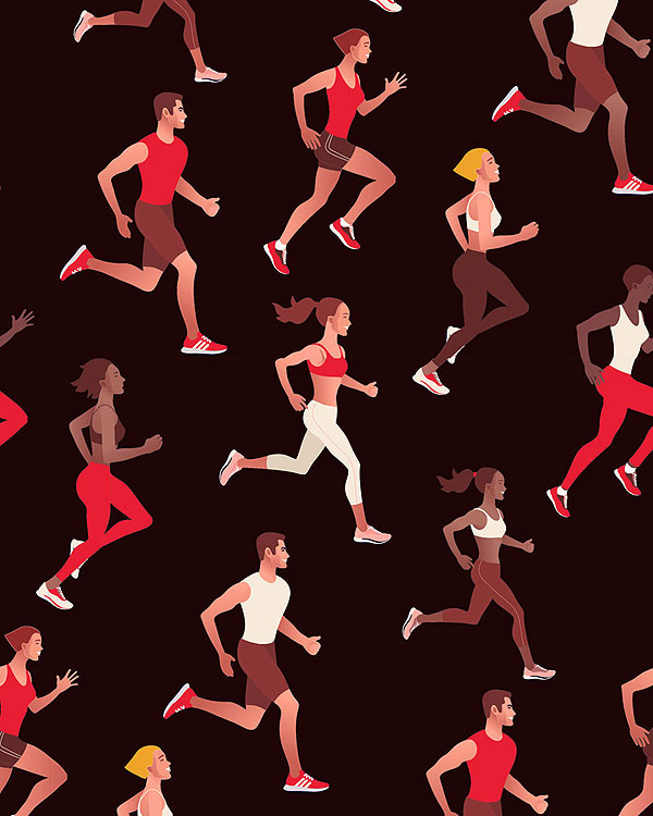 Running Free - Marathon - Black - DIGITAL PRINT