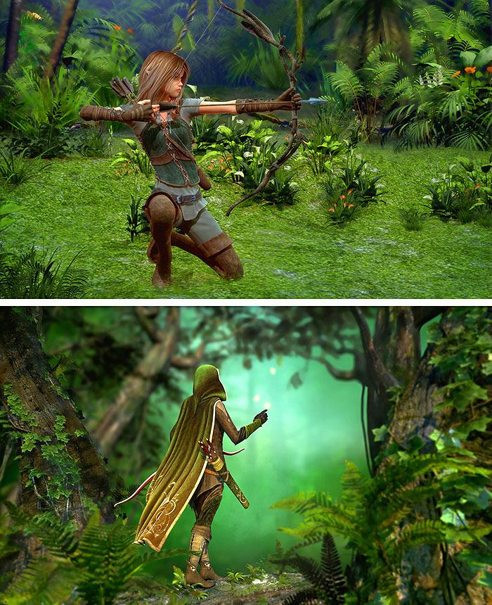 "Elves - Gentle Hunters - Green - 36"" x 44"" PANEL - DIGITAL PRINT"