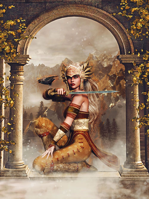 "Myth - Valkyrie Warrior - 33"" x 44"" PANEL - DIGITAL PRINT"
