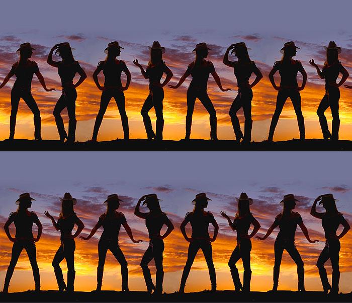 Cowgirl Sunset Stripe - Slate Blue - DIGITAL PRINT