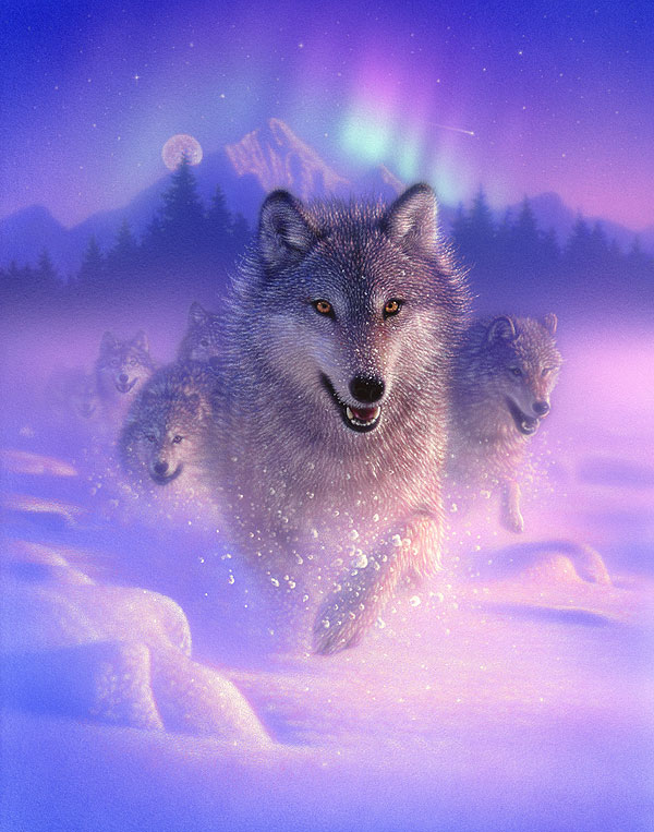 northern wolves light panel lilac digital equilter