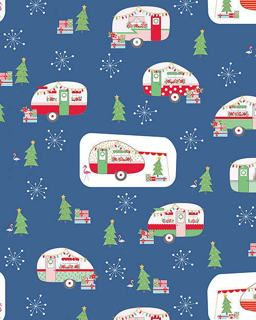 Christmas Adventure - Wintertime Camping - Steel Blue/Gold