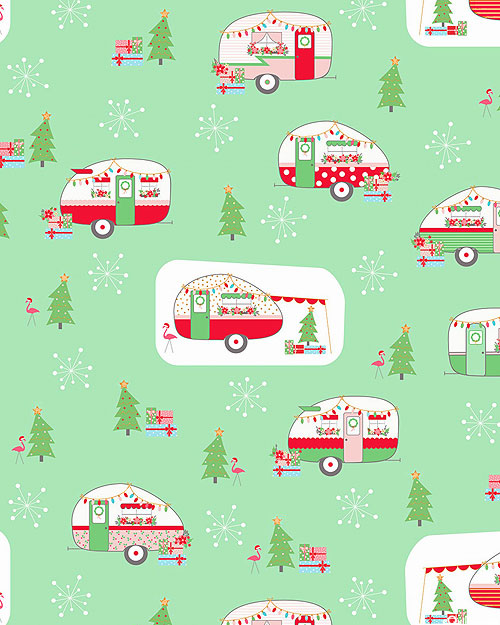 Christmas Adventure - Wintertime Camping - Mint/Gold