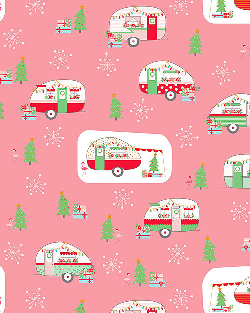 Christmas Adventure - Wintertime Camping - Retro Pink/Gold