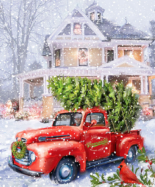 """Christmastime Is Here - Snowy Delivery - White - 36"""" x 44"""" PANEL"""
