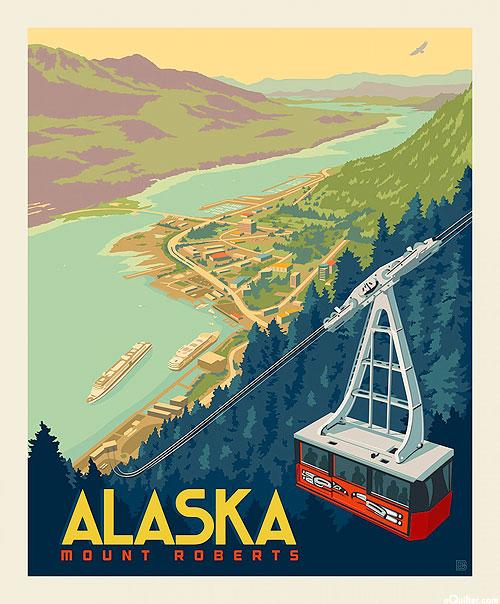 "Destinations 3 - Mount Roberts Alaska - 36"" x 44"" PANEL"