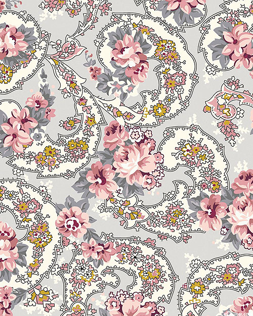Exquisite - Paisley Roses - Pewter Gray/Gold