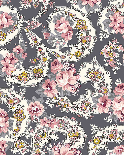 Exquisite - Paisley Roses - Charcoal Gray/Gold