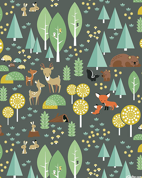 Woodland - Fuzzy Friends - Charcoal Gray - FLANNEL