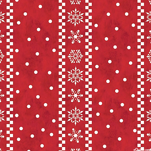 Gnome For Christmas - Snowflake Stripes- Ruby Red - FLANNEL
