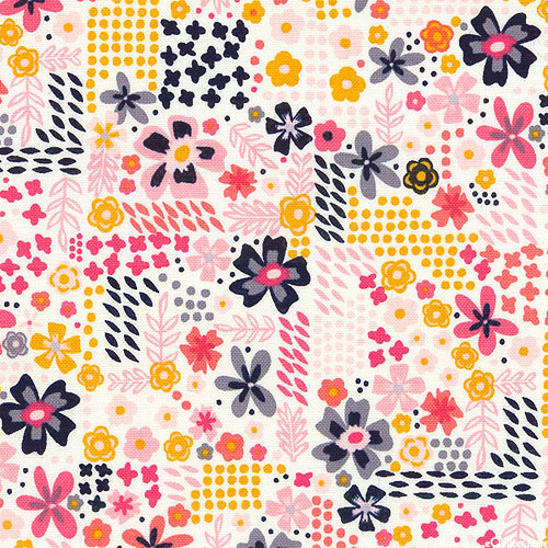 Golden Aster - Woven Floral Patchwork - Ivory