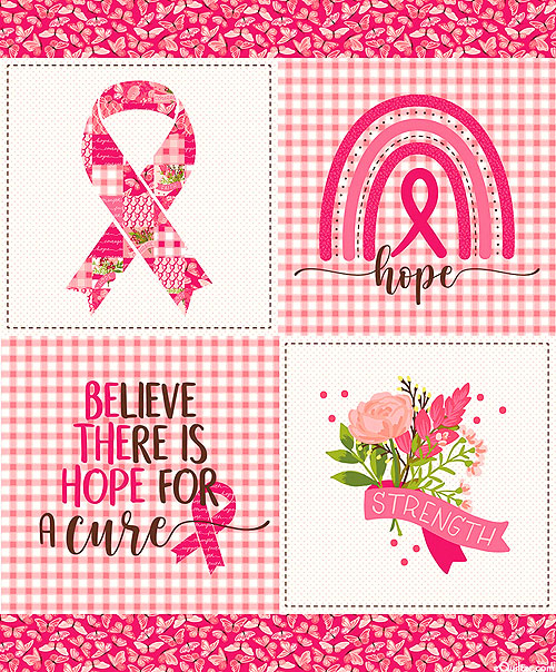 """Hope In Bloom - Hope for a Cure - Candy Pink - 36"""" x 44"""" PANEL"""