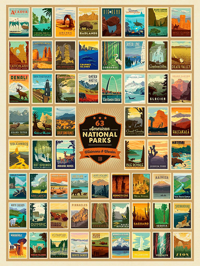 "National Parks - Wilderness & Wonder Posters - 54"" x 72"" PANEL"