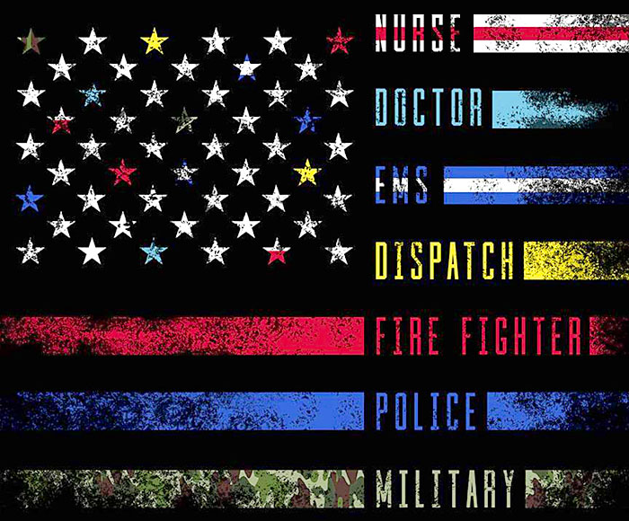 """Nobody Fights Alone - First Responder Flag - 36"""" x 44"""" PANEL"""