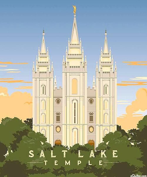"Temples - Salt Lake - Powder Blue - 36"" x 44"" PANEL"