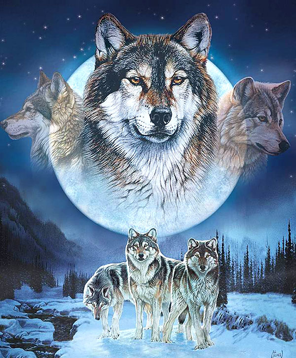 "Natures Finest - Full Moon Wolf Pack - 36"" x 44"" Panel - Digital"