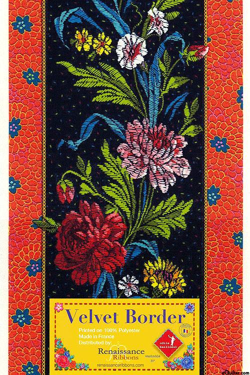 """Country Flowers - 5"""" Velvet Ribbon Border - Black"""