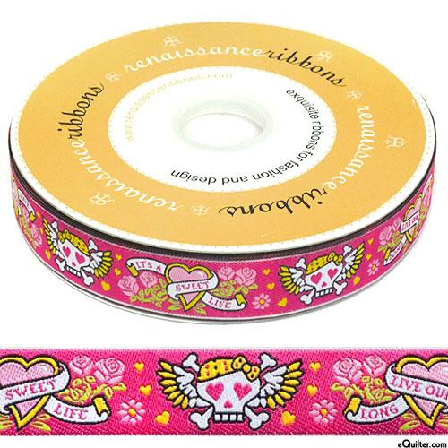 """Tattoo Love - 7/8"""" Ribbon - Hot Pink"""