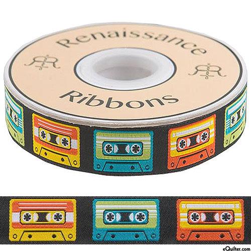 """Vintage Cassette Tapes - 7/8"""" Wide - Black"""