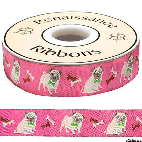 """Playful Pug - 7/8"""" Ribbon - Candy Pink"""
