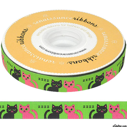 """Sleepy Cats - 5/8"""" Ribbon - Fresh Green"""