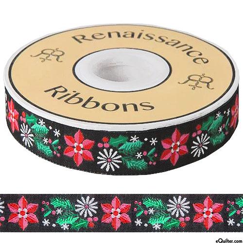 """Festive Poinsettia - 7/8"""" Ribbon - Black"""